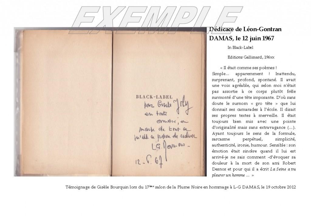 Dédicace manuscrite de Léon Gontran Damas à Gisèle Joly