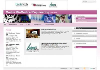 Interface d'un des sites web de Master ParisTech