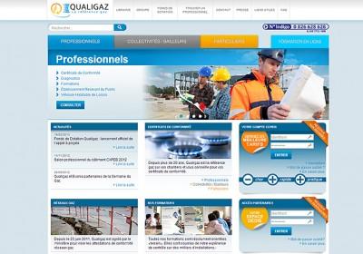 Interface du site web de Qualigaz
